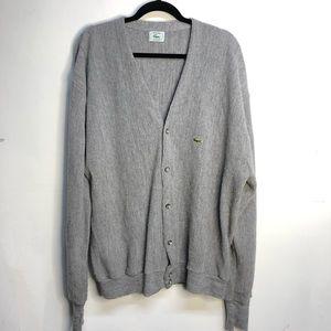 Vintage izod Lacoste alligator grey cardigan XL